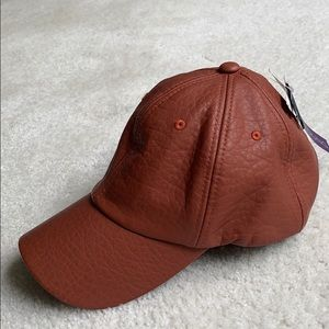 Faux Leather Brown Baseball Cap